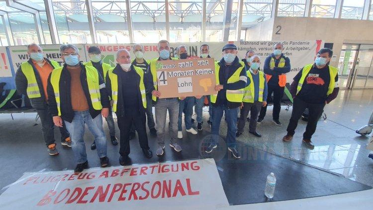 Frankfurt Havalimanı'nda Türk işçilerin açlık grevi devam ediyor