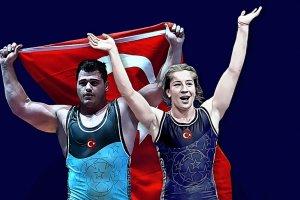 Milli güreşçiler Rıza Kayaalp ile Yasemin Adar adlarını tarihe yazdırdı