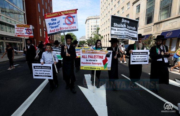 Biden-Bennett görüşmesi ABD'nin başkenti Washington'da protesto edildi